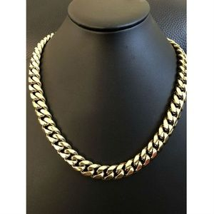 Harlembling 14k Gold Steel Cuban Link Choker Chain